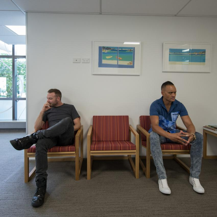 Stefan & Pita waiting room NZ Blood